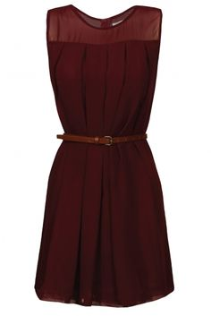 Burgundy dress with peek-a-boo shoulders