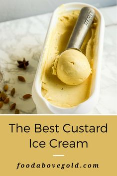 Homemade Custard Ice Cream Make the ultimate homemade frozen dessert with the best custard ice cream recipe ever! It's reminiscent of old fashioned vanilla and makes a fantastic base for other delicious flavors. Use an ice cream maker to give it excellen Ice Cream Treats, Ice Cream Desserts, Ice Cream Flavors, Köstliche Desserts, Frozen Desserts, Ice Cream Recipes, Frozen Custard Recipes, Frozen Treats, Homemade Icecream Recipes