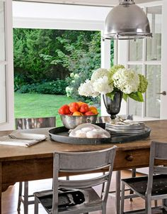 Hydrangea Metal Chairs Wooden Farm Table French Doors I Like The Look Of Industrial And Rustic Mixed