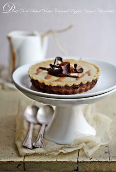 Deep Dark Salted Butter Caramel Eggless Yogurt Cheesecakes