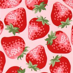 pink big strawberry fabric from Kokka Japan 1