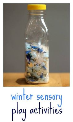 Winter sensory play for babies: discovery bottles and sensory tubs