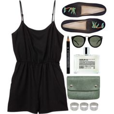 black & green casual outfit