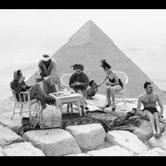 Tourists at the Giza Pyramids. Egypt, 1938