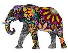 Sticker Mural Multicolore NO 651 Elephant Pattern Asie Inde Couleurs Fleurs | eBay