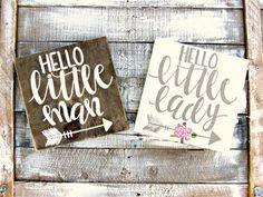 Hello Little Man // Hello Little Lady // Woodland Arrow Nursery Decor // Hand-Lettered Wood Sign