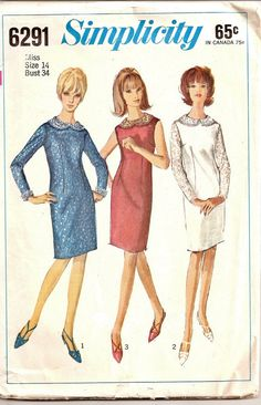 1965 Simplicity Pattern 6291 Ladies Dress Size by Acozylittlestore, $4.95