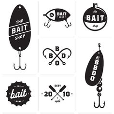 logos: I particularly like the 2nd one, on the top, although i's easier to read the logo info on all the others-the crossed fish hooks is also particularly inventive, simple & elegantly quirky
