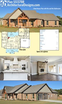 """Architectural Designs 3 Bed House Plan 55137BR has a great master suite arrangement with a """"his"""" and a separate """"hers"""" bathrooms. Ready when you are. Where do YOU want to build?"""