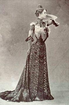 """1901, Evening dress """"Colibri"""" by Ernest Raudnitz  Les Modes Paris"""