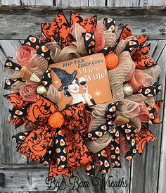 Halloween Wreath Candy Corn Wreath Halloween Swag Fall