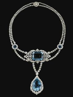 Aquamarine & diamond necklace by Cartier 1912. Once owned by Olga Karnovitsch (Princess Olga Valerianovna Paley) (1865-1929) Russia. 2nd wife of Grand Duke Paul Alexandrovich (1860-1919) Russia, the 8th child of Alexander II & 1st wife Princess Marie (Maria Alexandrovna) (1824-1880) Hesse. Olga was Child of Valerian Karnovich & his wife Olga Vasilyevna Meszaros, Russia.