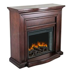 Pleasant Hearth 42-in Mahogany Electric Fireplace