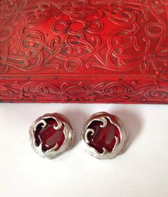 Clip On Earrings in Pewter with a large by BlkBttrflyDsgns on Etsy