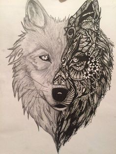 Black and grey mandala wolf tattoo design realistic drawings, art projects, Tattoo Und Piercing, Tattoo L, Body Art Tattoos, New Tattoos, Sleeve Tattoos, Tattoo Quotes, Abstract Wolf, Geometric Wolf, Watercolor Wolf