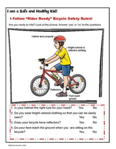 This activity presents a graphic of safety practices for all bicycle riders.  Students view the graphic and then ready answer questions about their safety practices. Topics covered include:  helmets, bicycle seat adjustment, clothing and bicycle reflectors.