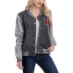 180d937dbaf Flawless Heather Gray  amp  Charcoal  H  Varsity Jacket ( 18) ❤ liked · Plus  Size ...