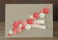zeit-zum-basteln.de - Karte zur Hochzeit mit vielen gestanzten Blumen und dem Set 'Eins für alle'