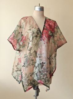 Sheer Floral Dark Cabbage Rose Kaftan Kimono Top - pinned by pin4etsy.com