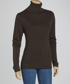 Take a look at this Brown Ribbed Turtleneck Sweater - Women by Montanaco on #zulily today!