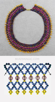 Free pattern for necklace Grand 11/0-4-6 mm golyó