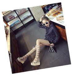 Buy 2016 New High Heel Tied Cross Sandal Shoes Zipper Strap Sandals at Wish - Shopping Made Fun Strap Sandals, Shoes Sandals, Wish Shopping, High Heels, Zipper, Boots, Fashion, Crotch Boots, Moda