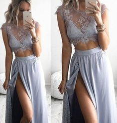 2 piece Prom Dresses,Chiffon Prom Dress,Two Piece Evening Dresses,Elegant Prom Dresses,2017 Prom Dress,Prom Gowns