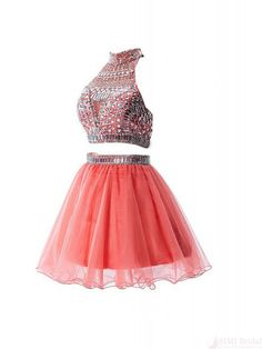 two pieces jomecoming dresses,short prom dress,beading homecoming dress #homecomingdresses #SIMIBridal