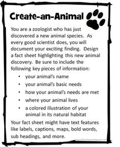 Create-an-Animal or Create-a-Plant!  Excellent activity for higher level thinking! 4th Grade Science! TEXT FEATURES!!!
