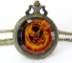High Quality Big Size The Hunger Games Laughing Bird Pocket Fob pocket Watch Necklace pendant