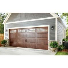 18.4 R Value Intellicore Insulated Ultra Grain Walnut Garage Door With Arch  Window