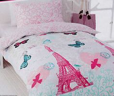 eiffle tower bedding | Details about PARIS Pink Eiffel Tower Single/Twin Size Quilt Cover Set ...