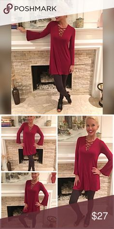 Deep Wine tunic with sexy criss cross top! 💋 This jersey knit fully lined tunic is adorable and on trend with color and style! Tops Tunics