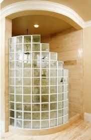 Spiral walk in shower enclosures with clever tiling for Glass block options