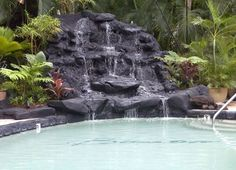 Guests can enjoy the salt water pool & waterfall. #waikiki #hawaii #aquahotels #aquabamboowaikiki