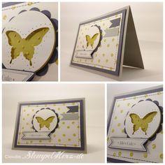 Stampin Up - Famose Fähnchen - Eleganter Schmetterling - Distrressed Dots - Karte Alles Gute Collage