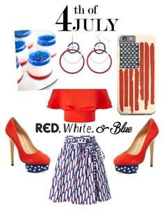 """""""Cocktail Party on the 4th Of July"""" by shannybriggs on Polyvore featuring Marc Jacobs, Miss Selfridge, Charlotte Olympia, redwhiteandblue and july4th"""