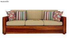 Buy Marriott 3 Seater Wooden Sofa (Honey Finish) Online in India - Wooden Street Wooden Sofa Designs, Wooden Sofa Set, Wood Sofa, Wooden Street, Set Honey, Living Room Arrangements, Sofa Furniture, Furniture Ideas, Furniture Design