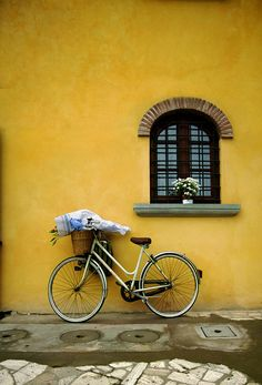 ♂ Bike at the front of yellow wall #bicycle #yellow #window by Bianchi Photograph
