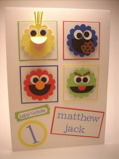 1st Birthday card using punches! cookie monster, elmo, big bird,