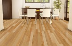This contemporary dining room has been created with Lauzon Decozone. The perfect tool to test hardwood floorings. A marvelous natural hardwood flooring. Birch Floors, Red Oak Floors, Maple Hardwood Floors, Engineered Hardwood Flooring, Wooden Flooring, Flooring Ideas, Natural Flooring, Decoration, Pure Genius