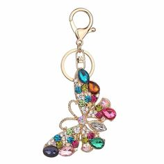 Rhinestone butterfly Keychain Fashion Accessories Charm Bag Pendant Key  Chain Ring Holder Creative Jewelry Gift  40 fd2df4f19184