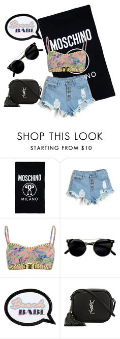 """""""Beach Trendy"""" by rachel-blum ❤ liked on Polyvore featuring Moschino, MINKPINK, Sophia Webster and Yves Saint Laurent"""