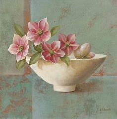 flowers with vase- Fabrice de Villeneuve