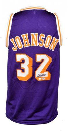 88c11225a Magic Johnson Los Angeles Lakers Autographed Purple Mitchell   Ness  Hardwood Classics Swingman Jersey