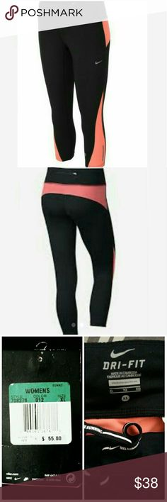 New Nike Dri- Fit Running Leggings New never used Nike Dri-Fit running leggings. Super cute black and orange/peach color. Pants Leggings