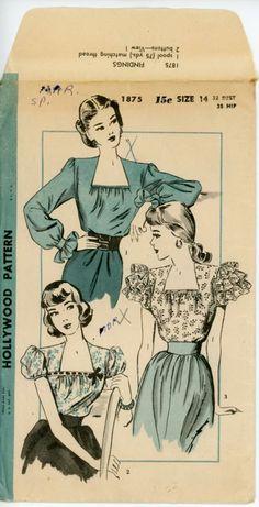 Hollywood 1875 A Motif Vintage, Vintage Dress Patterns, Clothing Patterns, Vintage Dresses, Vintage Outfits, 1940s Fashion, Fashion Sewing, Vintage Fashion, Hollywood Fashion
