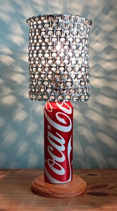 Big 20 oz Coca Cola Soda Can Lamp with Pull Tab Lamp Shade - The Coca Cola Lover's Essential on Etsy, $42.00