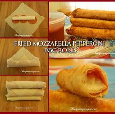 Here's the link to the tutorial >> DIY Fried Mozzarella-Pepperoni Egg Rolls Recipe << by Best Yummy Recipes Appetizer Recipes, Snack Recipes, Cooking Recipes, Skillet Recipes, Cooking Tools, Pizza Recipes, Easy Recipes, Pizza Egg Rolls, Pizza Sticks