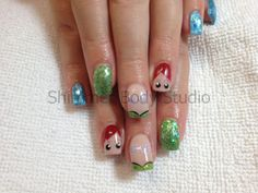 Gel nails, Themed nails, Little Mermaid Nails, Ariel nails, glitter, foil, hand painted nail art by Shimmer Body Studio.